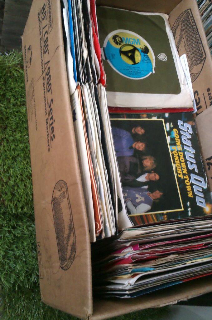 "box load job lot vinyl 7"" singles records various styles rock pop 70s 80s era etc"
