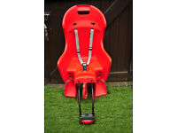Safety child bike rear seat, up to 22kg. red with straps.