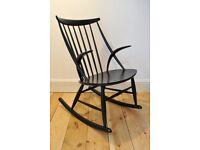 Vintage Retro 60's Danish Black Illum Wikkelso Rocking Chair / Rocker - Excellent Condition