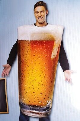 Adult Mens Draft Beer Glass Mug PINT Funny Bar Brew Halloween Costume M L NEW (Beer Glass Costume)