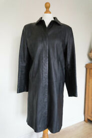 MARKS AND SPENCER Ladies black very soft REAL LEATHER long coat size 12 M&S