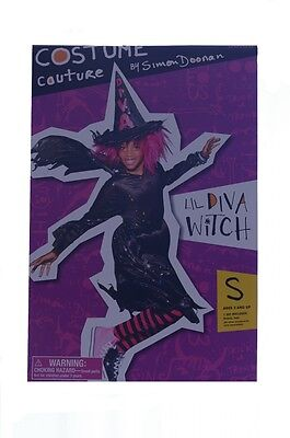 Girls Fun Lil Diva Nice Witch Halloween Trendy Costume Hat Dress Black Pink NEW