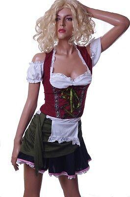 Womens Bavarian Bar Maid Sexy Oktoberfest German Halloween Costume Dress L  NEW](Halloween Bar Maid Costume)