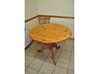 Round Pine Kitchen Table 100 cm wide.