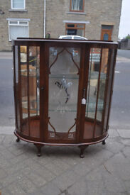 vintage mid century bow fronted china cabinet