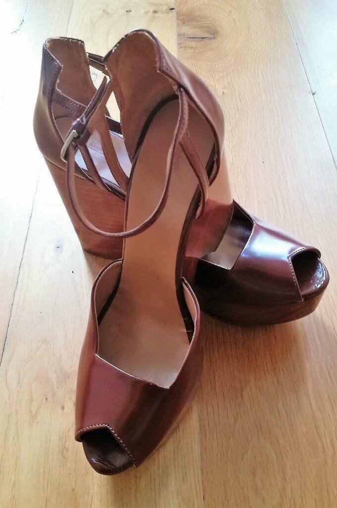 5762bf266613 ZARA DESIGNER BOHEMIAN BOHO Wedges Wooden Heel Peep Toe Tan Brown High Heel  Wood Strappy Size 41