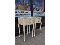 pair of vintage retro french louis bedside cabinets / lamp tables