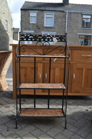 metal and wicker shelving unit