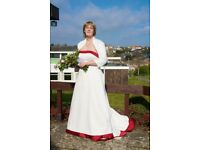 White Alfred Angelo wedding dress with burgundy trim size 16-18