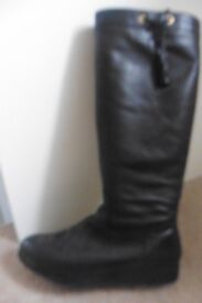 LADIES BLACK KNEE HIGH BOOTS