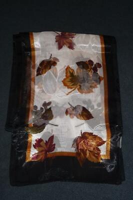 NOS LIZ CLAIBORNE Oblong Scarf ~ $45 NWT Brown Fall Leaf Gold Navy Blue Border - Fall Border
