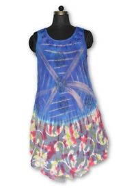 Tie Dye Hippie Tunic Top Umbrella Dress Boho Beach Kaftan 10 ,12 ,14 ,16 ,18 , 20, 22, 24 Plus Size