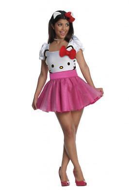 Damen Erwachsener Reiz Deluxe Hello Kitty Kostüm Kleid Outfit