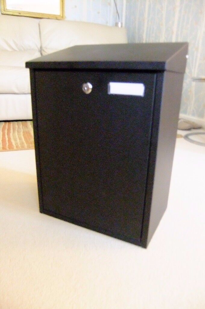Large postbox, black steel with lock and lid