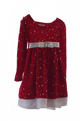 Baby Girls Toddler Red Velvet CHRISTMAS HOLIDAY Party Dress 6 9 24 Month 3T NEW