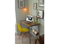 Rustic Handmade Industrial Desk & Chair hairpin leg table