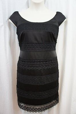 S. L. Mode Kleid 14 Schwarzer Spitzenrand Platten Satin Ärmellos Cocktail Kostüm