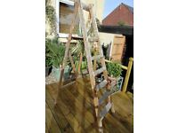 LARGE WOODEN STEP LADDER GOOD CONDITION