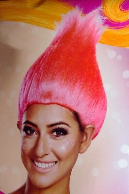 Womens Girls Troll Bright Hot Pink TROLLS Wig 14 and Up Adult Size S M L  - Pink Troll Wig