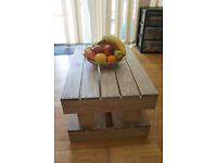 Coffee Table handmade in rustic style and whitewash color