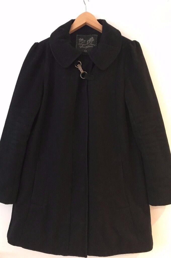 Original Pepe Jeans Black Beverley Dress Coat Size Large fits 10, 12, 14