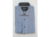 Mens Massiimoo Blue & White Gingham Shirt With Brown Elbow Patches - Size L