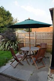 *Reduced* Wooden Patio Dining Set & Umbrella