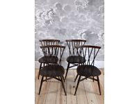 Vintage Retro 60's Set of 4 Ercol Windsor Candlestick Chairs