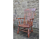 vintage retro wooden high backed windsor fireside chair carver chair shabby chic
