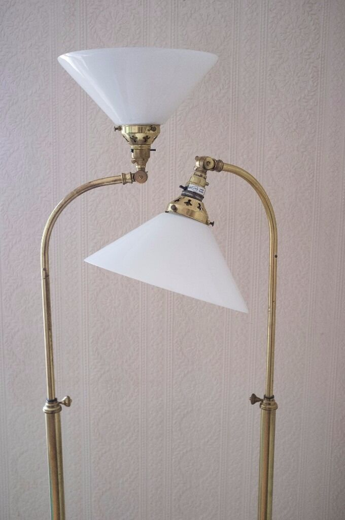 pair of christopher wray floor lamps solid brass w opal glass shades