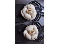 camellia Flower Jelly Thong with inscription Chanel- flip flop 38 size-5 UK