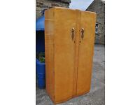 vintage wrighton art deco maple double door wardrobe shabby chic