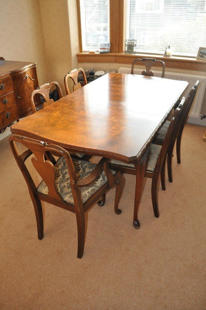 Queen Anne Style Burr Walnut Dining Table Chairs And Sideboard