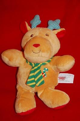 """Christmas Holiday Reindeer Moose Rattle Red Tan Stephan Baby Plush 10"""" Toy Lovey"""