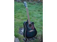 Vintage brand VEC500BL electro acoustic guitar