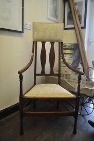 art nouveau oak high back chair
