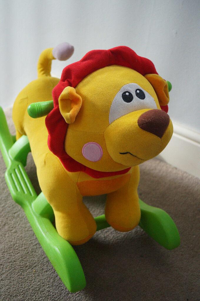 Kids Rocking Horse Lion Toy Plush Animal Ride-On