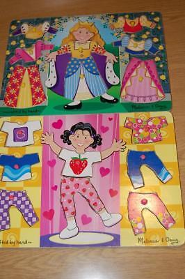 2 MELISSA & DOUG WOODEN PEG PUZZLES- PRINCESS DRESS UP & GIRL DRESS UP - VGUC~~ ()