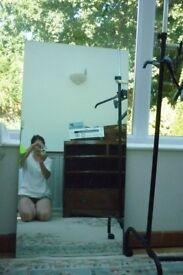 large frameless free standing mirror 60cm x 120cm