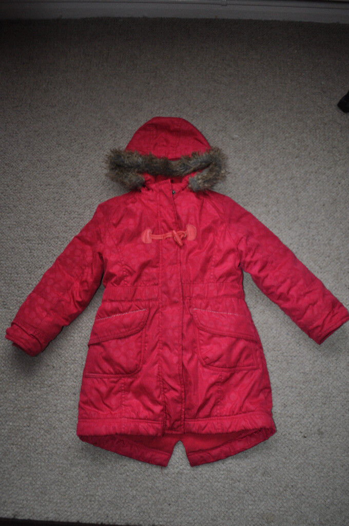 5d76ad4b1649 Girls long winter coat by Vertbaudet showerproof fleece lined zip in ...