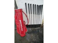 Set of 9 Joe Powell American Irons with Dunlop Golf Bag