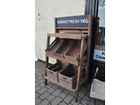 pair of wooden shop display stands