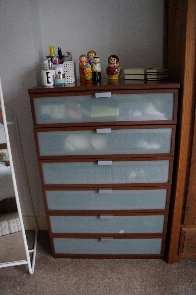 Chest Of Drawers From Ikea Hopen 6 Walnut With Frosted Gl