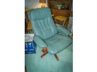 Retro Vintage mid century Modern Leather Recliner Chair