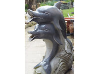 Hand Carved and Polished Granite Dolphins Water Feature