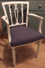 Stunning William Bartlett Carver Bedroom Chair Painted in any colour & reupholstered in any fabric