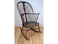 Vintage Retro 60's Ercol Chairmakers Swan Back Rocker Rocking Chair in Fruitwood