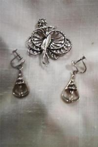 Vintage Danecraft Ballerina Brooch and Earrings Sterling Silver .925 Screw Large