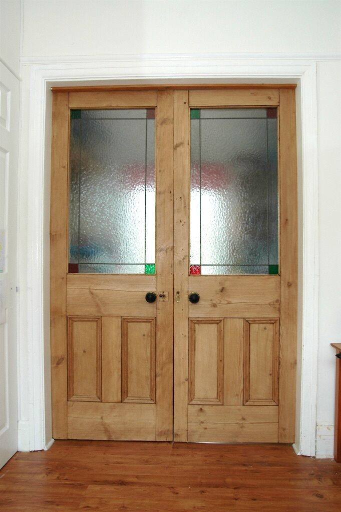 Victorian Pine Stained Glass Double Doors In Gateshead Tyne And