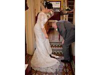 White Rose Lace Wedding Dress Size 10/12